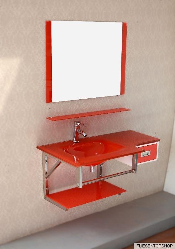 waschtisch regal glasablage glas waschbecken rot wt3070 spiegel schublade bad wc ebay. Black Bedroom Furniture Sets. Home Design Ideas