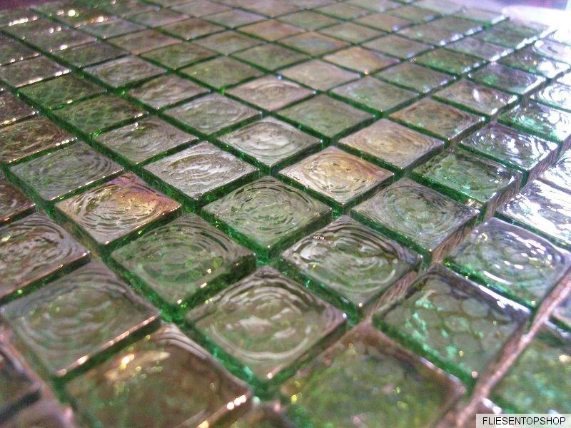 glasmosaik mosaik fliesen klarglas perlmutt metall gr n bad dusche k che 8mm ebay. Black Bedroom Furniture Sets. Home Design Ideas