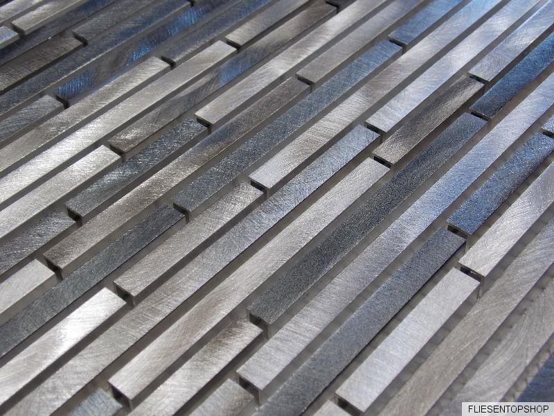 effektmosaik mosaik fliesen silber grau aluminium metall. Black Bedroom Furniture Sets. Home Design Ideas
