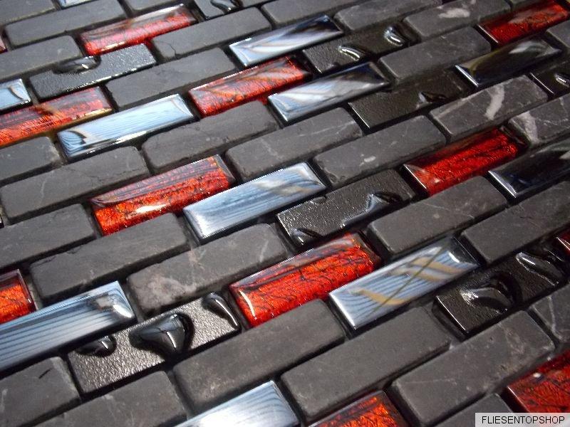 Glas Naturstein Effekt Mosaik Fliesen Schwarz Rot Metall Mix Sticks - Günstig mosaik fliesen kaufen