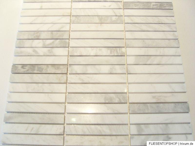 1 qm carrara classic naturstein marmor mosaik poliert fliesen bad weiss grau ebay. Black Bedroom Furniture Sets. Home Design Ideas