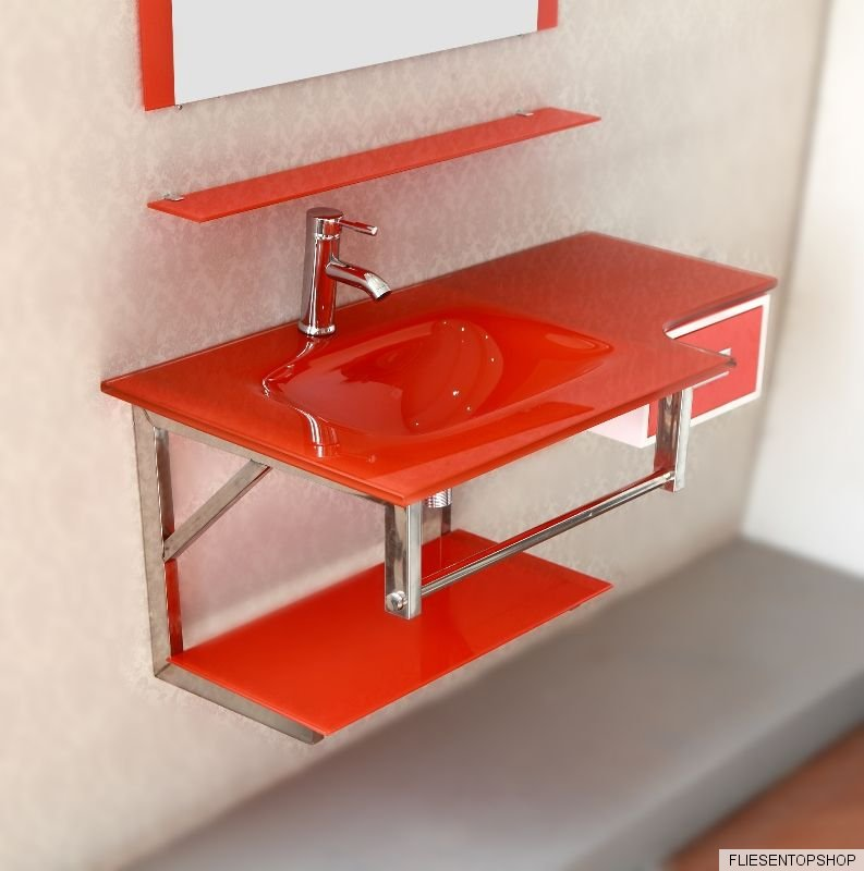 waschtisch regal glasablage glas waschbecken rot wt3070 spiegel schublade bad wc ebay. Black Bedroom Furniture Sets. Home Design Ideas