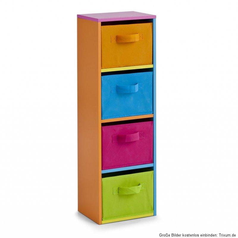 zeller kinderregal color mit 4 f chern spielzeugregal regal kommode boxen ebay. Black Bedroom Furniture Sets. Home Design Ideas