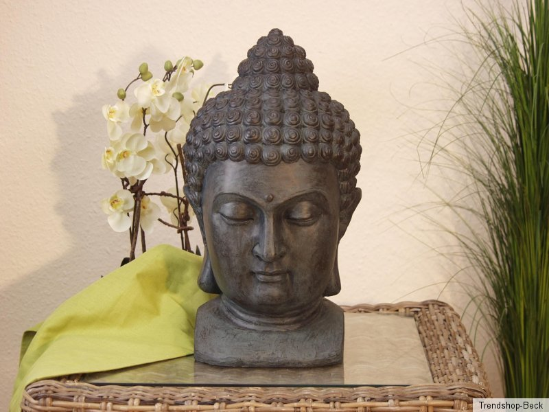 buddhakopf aus polyresin dekoobjekt figur deko standdeko skulptur buddha kopf ebay. Black Bedroom Furniture Sets. Home Design Ideas