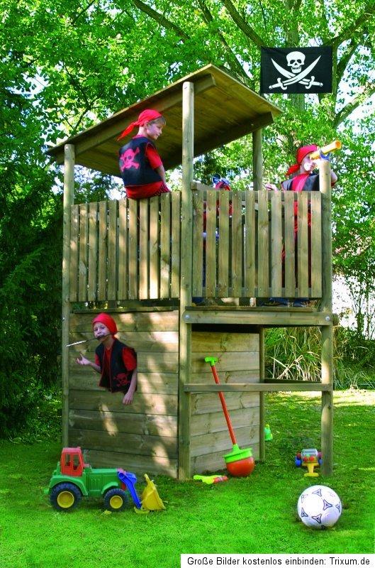 kletterturm piratenschiff abenteuer spielturm spielplatz mit steuerrad fernrohr ebay. Black Bedroom Furniture Sets. Home Design Ideas