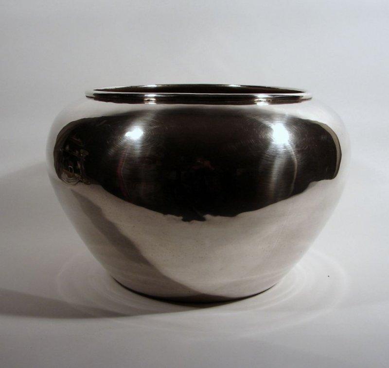 vase bertopf blumen bertopf dm 42 cm gunther lambert rangoon metall versilbert ebay. Black Bedroom Furniture Sets. Home Design Ideas