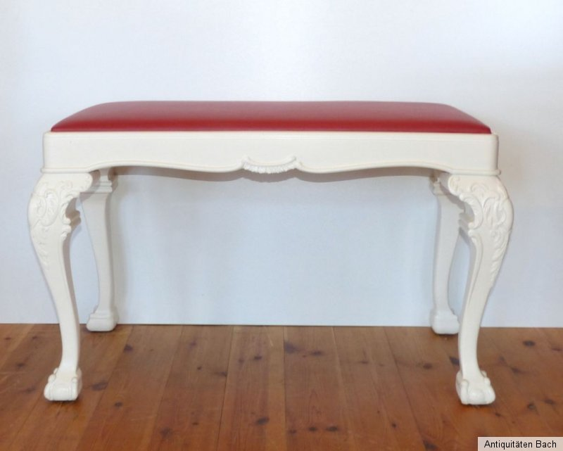 sitzbank geschnitzt claw ball foot rotes lederpolster. Black Bedroom Furniture Sets. Home Design Ideas