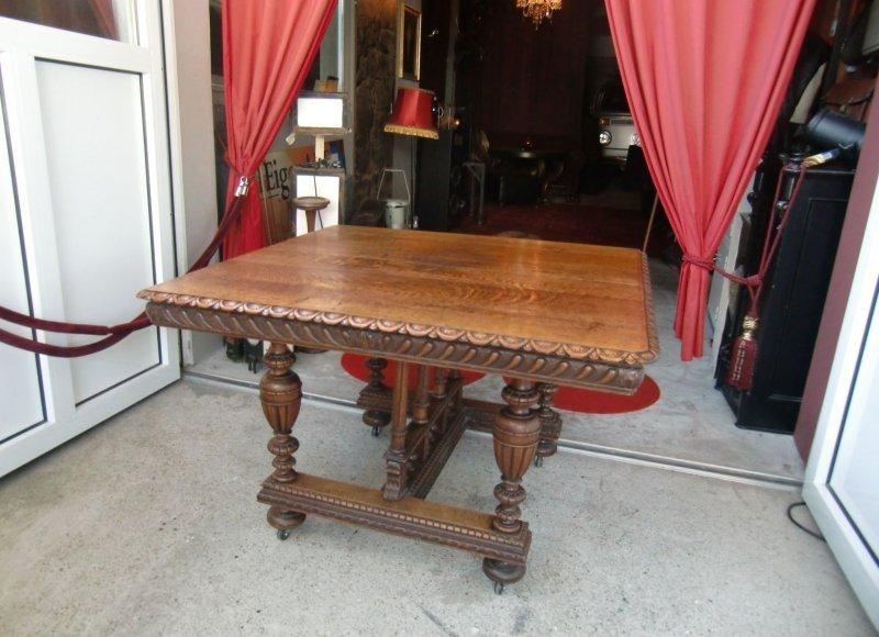 Antiker esstisch gr nderzeit eiche massiv for Esstisch mit glaseinlage