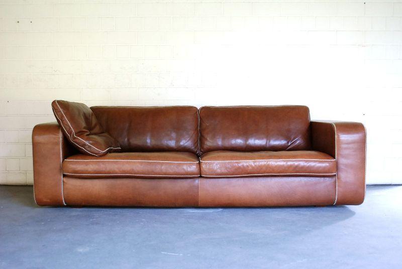 Machalke modell valentino cognac ledersofa sofa leder el for Designklassiker sofa