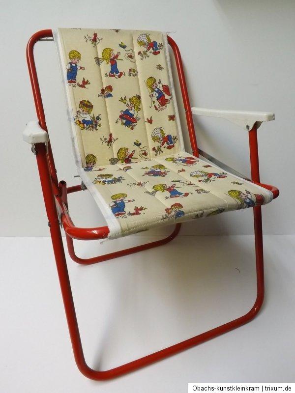kinder campingstuhl klappstuhl 70er kunststoff bezug metallgestell rot ebay. Black Bedroom Furniture Sets. Home Design Ideas