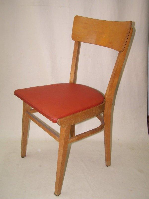 Vecchio Legno Sedia Cuoio Rosso Culto Design Vintage 50