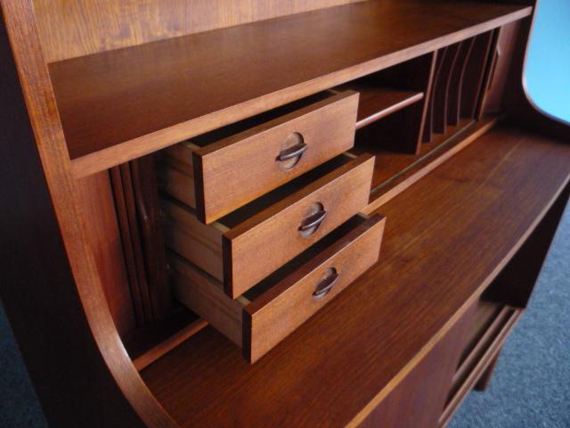 denmark teak sideboard sekret r mit rolladen schiebet ren regal 50er 60er ebay. Black Bedroom Furniture Sets. Home Design Ideas