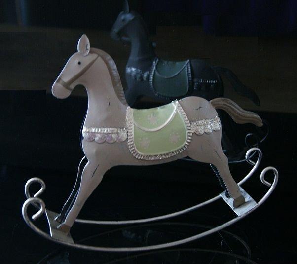Schaukelpferd Christmas Pferd Weihnachten Deko Shabby: Schaukelpferd Metall Blech Nostalgie Shabby Chic Vintage