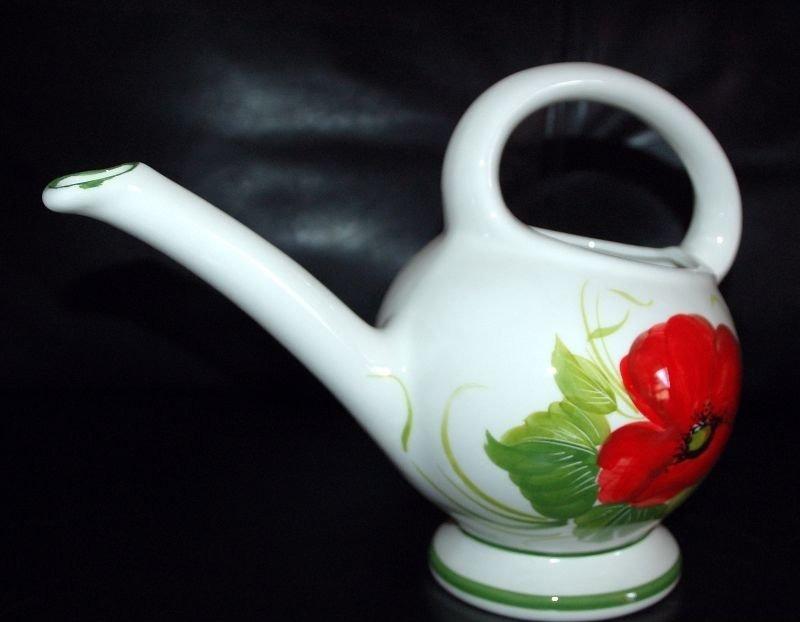 Bassano keramik gie kanne f r zimmerpflanzen mohnbl te for Mediterrane dekoration