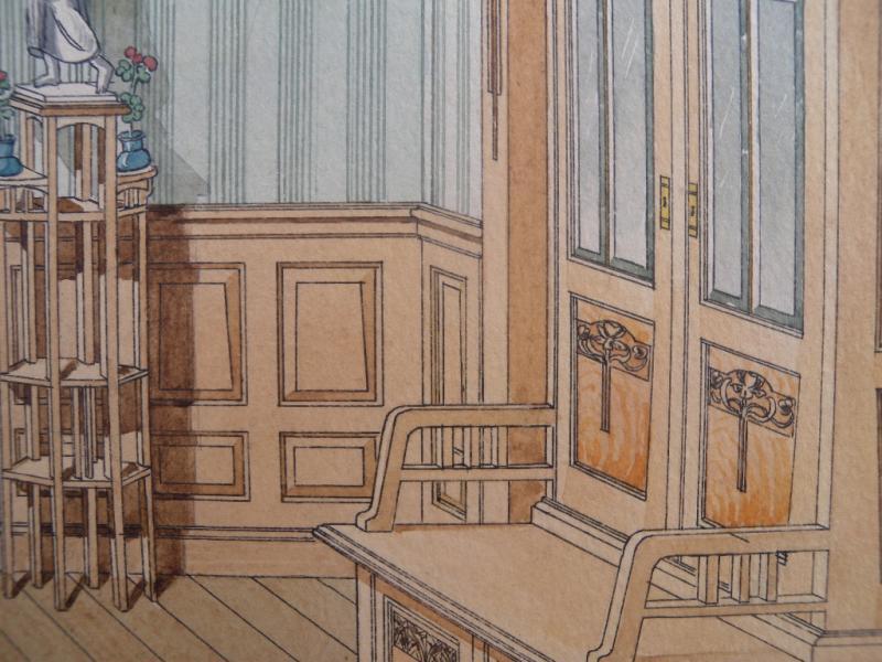 Antike zeichnung jugendstil wohnzimmer raum um 1900 for Wohnzimmer 1900