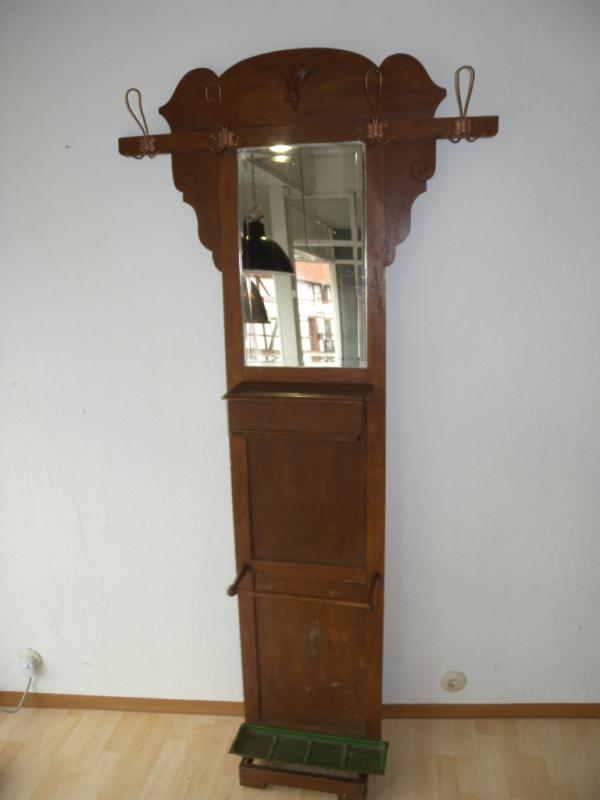 antike garderobe jugendstil kleiderst nder eiche flurgarderobe spiegel um 1900 ebay. Black Bedroom Furniture Sets. Home Design Ideas