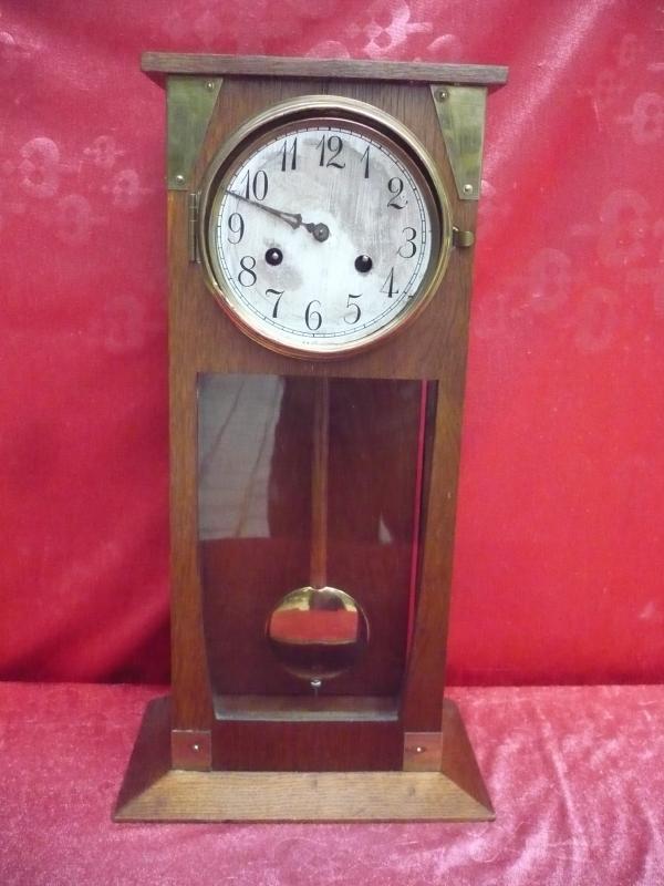 vieille horloge de chemin e pendule bois et verre en laiton de 50 cm ebay. Black Bedroom Furniture Sets. Home Design Ideas