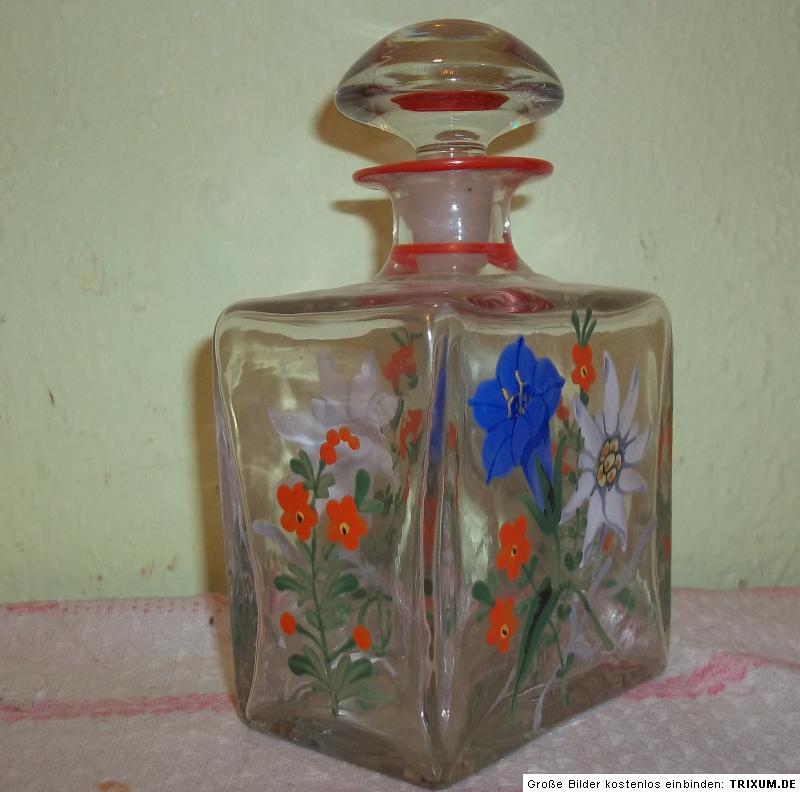 alte glas karaffe flasche abriss edelwei enzian hand. Black Bedroom Furniture Sets. Home Design Ideas