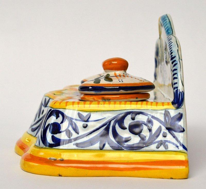 Tintenfass Keramik Fayence Quimper Grande Maison Hb