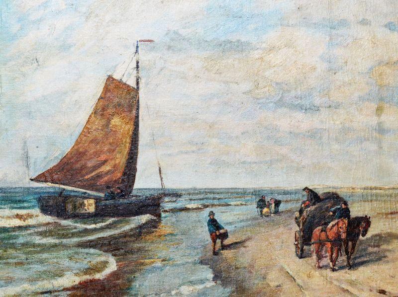 Gem lde l leinwand adolf rheinert d sseldorf meer strand schiff boot 80x70cm ebay - Dusseldorf bilder auf leinwand ...