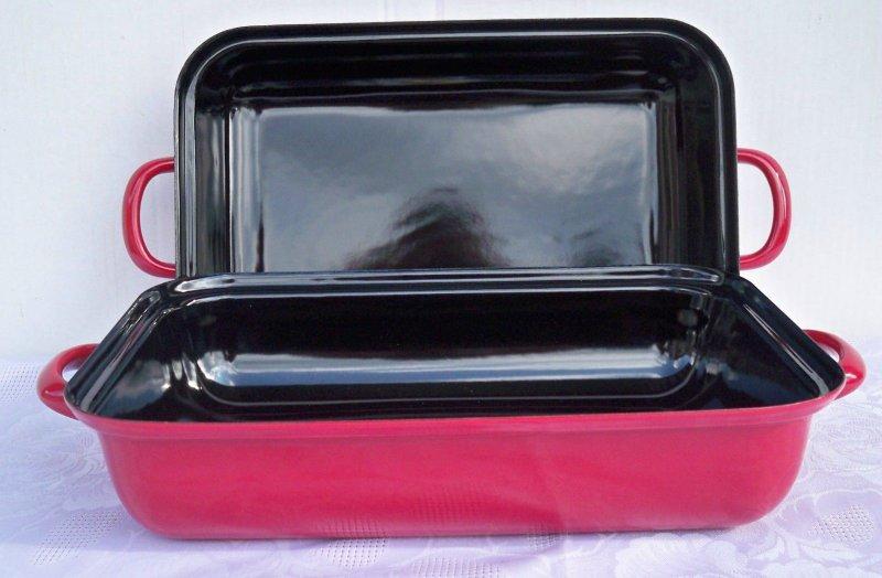 riess emaille bratpfanne mit deckel br ter pfanne bratpfanne rot 32x22 induktion ebay. Black Bedroom Furniture Sets. Home Design Ideas