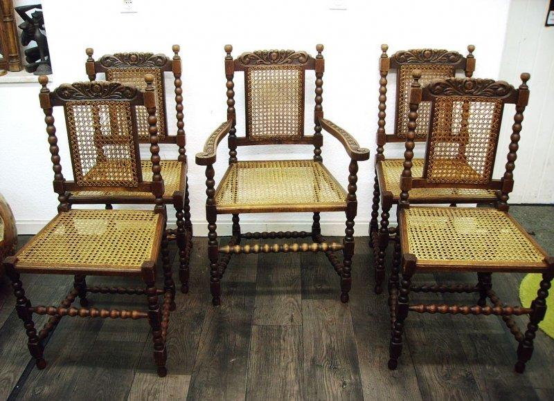 4 st hle 1 armlehnstuhl eiche massiv imposant ebay. Black Bedroom Furniture Sets. Home Design Ideas