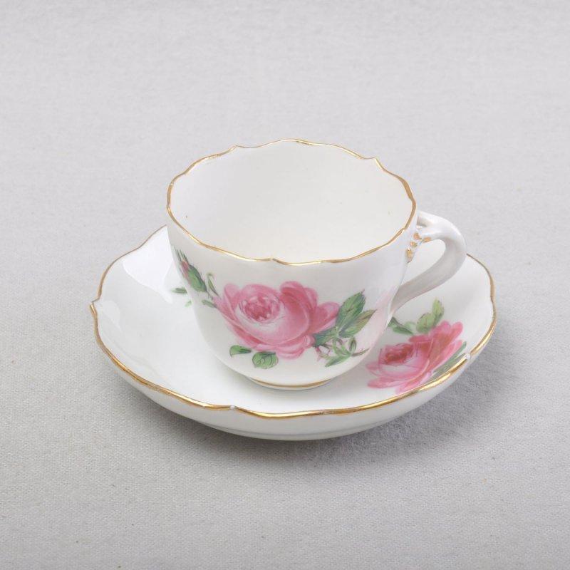 Meissen Tasse mit Untertasse Mokkatasse Espressotasse gelbe Rose 1.Wahl Goldrand