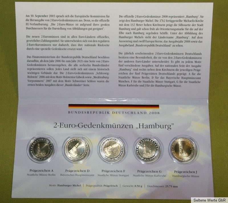 2 Euro Gedenkmünzen Hamburg 2008 Adfgj Prägefrisch Ebay
