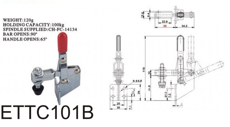 Waagerechtspanner Schnellspanner horizontal Haltekraft 100 kg ETTC101B