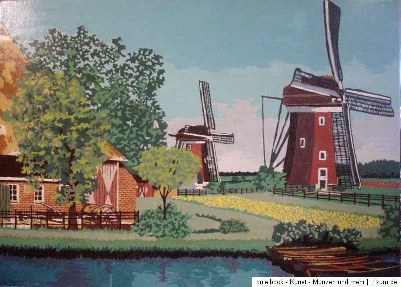 fluss und windm hlen in holland tolles lgem lde signiert b flemmig foto ebay. Black Bedroom Furniture Sets. Home Design Ideas
