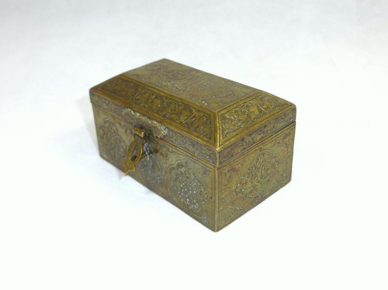Bronze Antike Originale Vor 1945 Ausgefallene Fein Ziselierte Schatulle Dose Damaskus 19 Jh