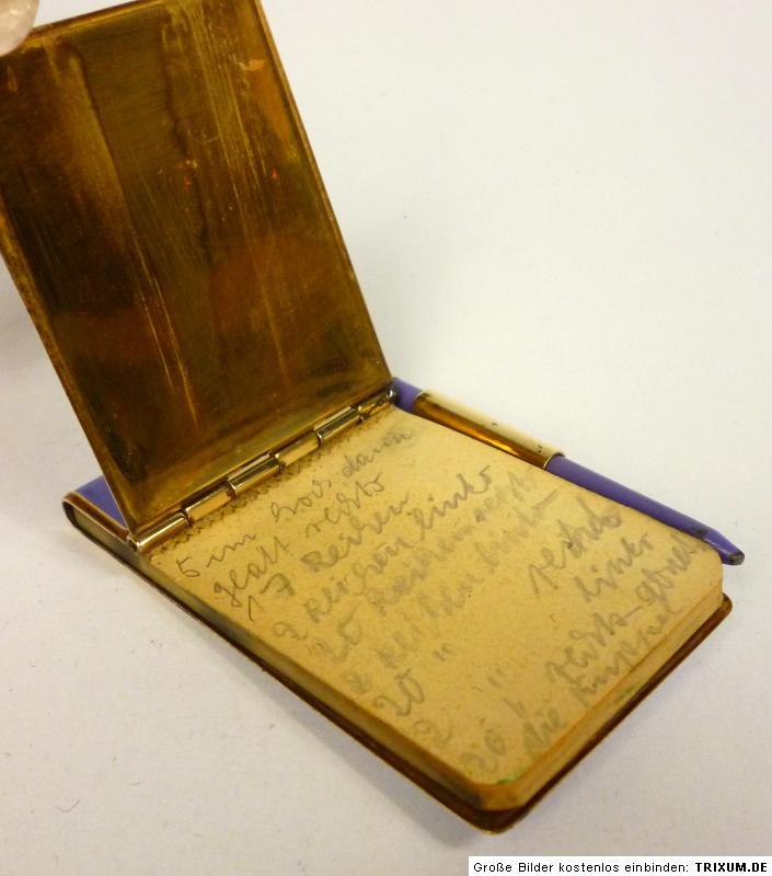 art deco notebook with pen brass enamel um 1920 ebay. Black Bedroom Furniture Sets. Home Design Ideas