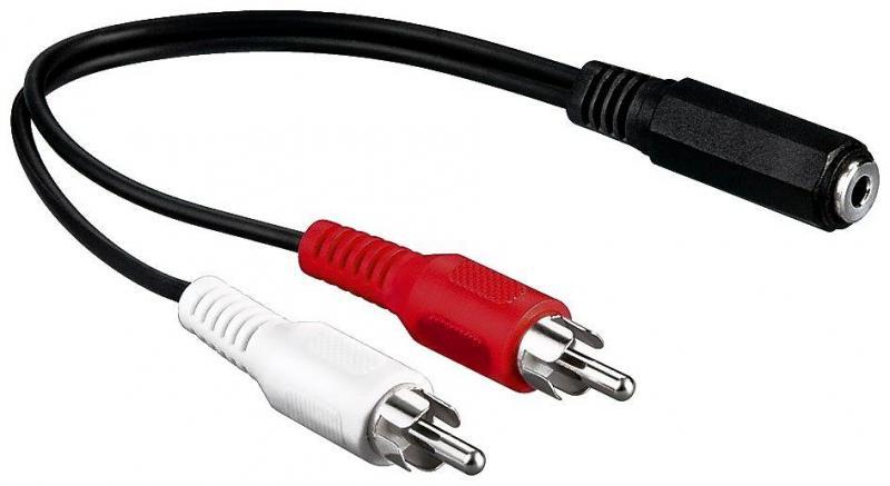 100 Stück - Cinch Kabel Adapter 2 Chinch Stecker auf 3,5mm Klinke ...