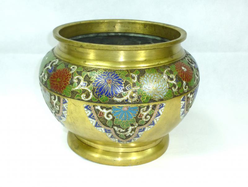 xxl taille xxl cache pot pot de fleur chine um 1900 en laiton bronze mail ebay. Black Bedroom Furniture Sets. Home Design Ideas